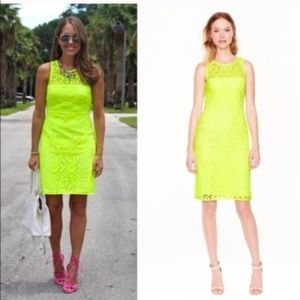 J CREW collection neon yellow lace sheath dress